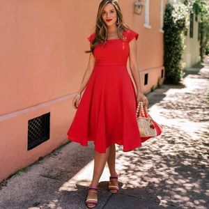 NWT Gal Meets Glam Regina Fit & Flare Dress in Red